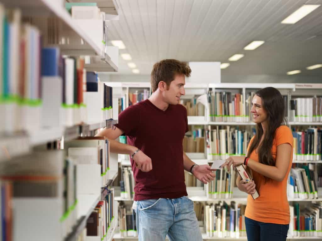 the cliché library scene