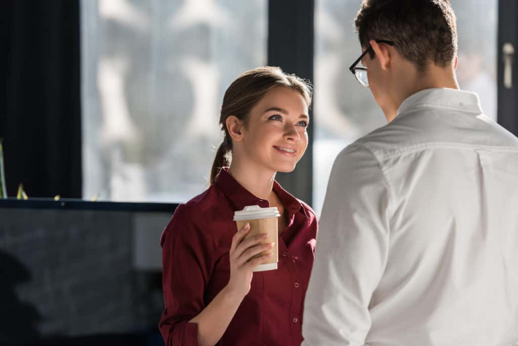 default expression when she met your gaze: smile