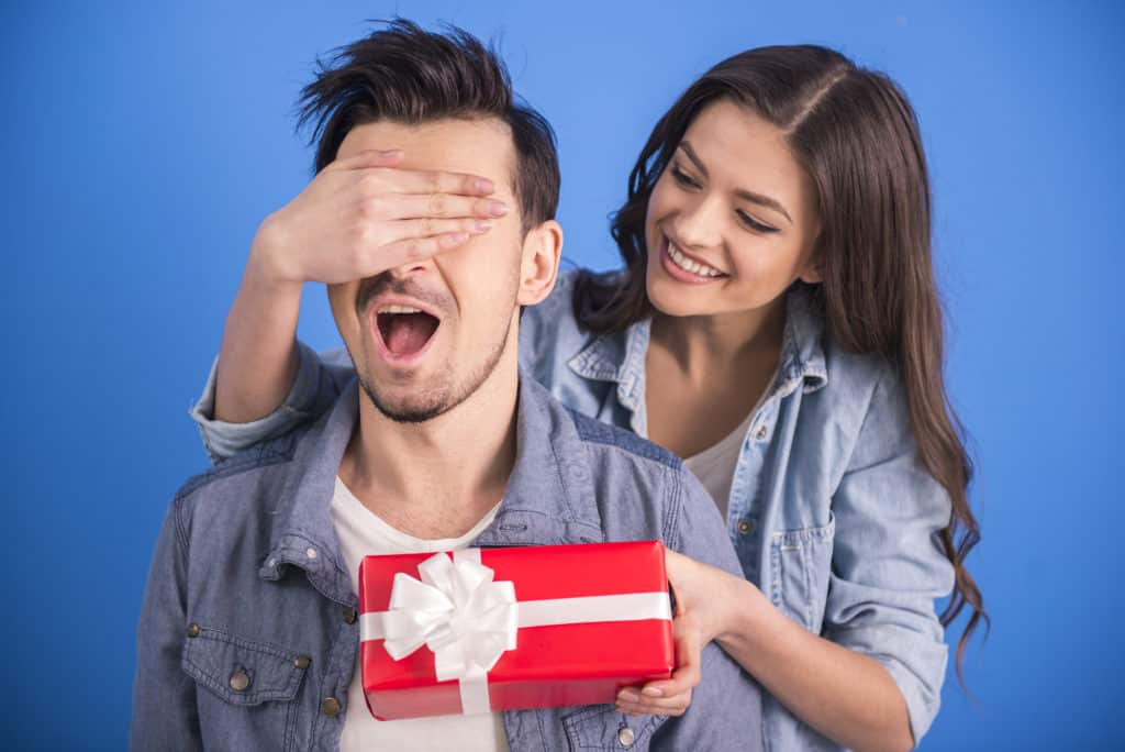 surprise him with a gift