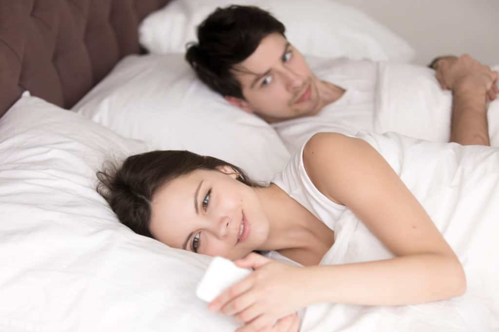 your girlfriend is secretive about whom she is chatting or talking with